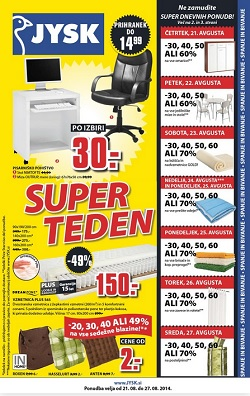 Jysk katalog Super teden do 27. 8.