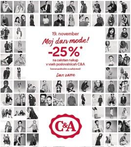 C&A akcija – 25 % na vse 19. 11.