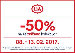 C&A akcija – 50 % na že znižano do 13. 02.