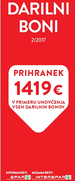 Spar in Interspar katalog Darilni boni 02/2017
