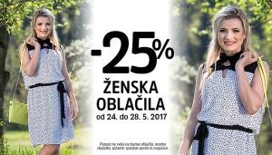 Mana akcija – 25 % na ženska oblačila do 28. 05.