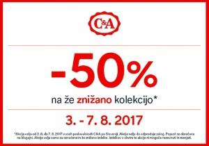 C&A akcija – 50 % na že znižano do 07. 08.