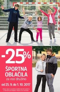Mana akcija – 25 % na športna oblačila do 01. 10.