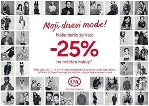 C&A akcija – 25 % na celotni nakup do 11. 11.