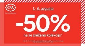 C&A akcija – 50 % na že znižano do 06. 08.
