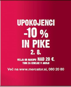 Mercator akcija – 10 % za upokojence 02. 08.
