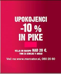 Mercator akcija – 10 % za upokojence 22. 11.