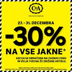 C&A akcija – 30 % na jakne do 31. 12.