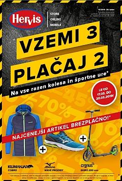 Hervis katalog Vzemi 3, plačaj 2 do 20. 05.