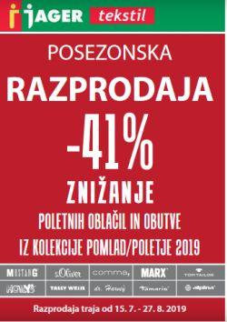 Jager katalog tekstil Posezonska razprodaja do 27. 08.