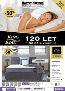 Harvey Norman katalog 120 let King Koil vzmetnic