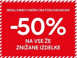 C&A akcija – 50 % na znižano do 2. 2.