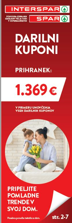 Spar in Interspar Darilni boni do 31. 3.