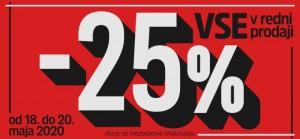 Mana akcija – 25 % na vse do 20. 5.