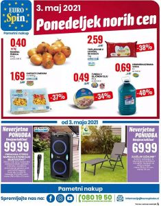 Eurospin akcija Ponedeljek norih cen 3. 5.