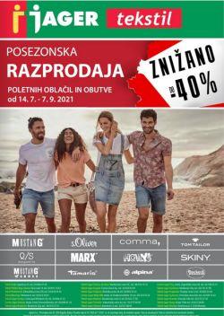 Jager katalog tekstil Posezonska razprodaja oblačil